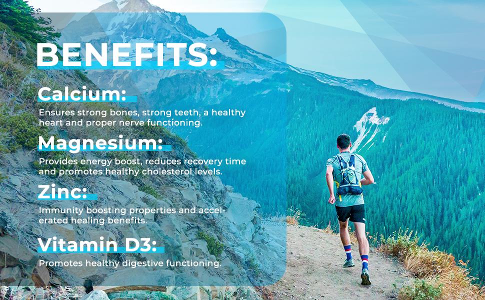 Natural Nutra Calcium Magnesium Zinc Supplement with Vitamin D3