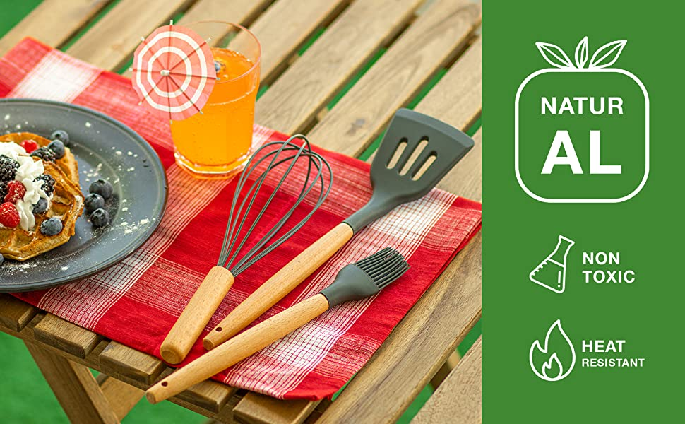 kitchen utensils set cooking silicone spatula wooden bamboo holder black grey gadgets tools spoons