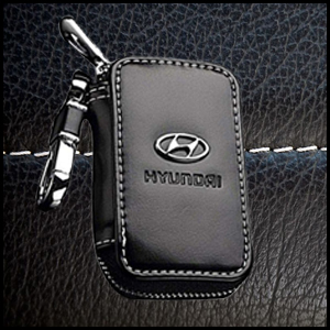 Premium Leather Car Key Chain Coin Holder Zipper Case Remote Wallet Bag for Hyundai