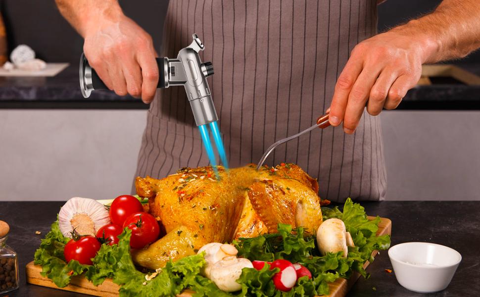 MUSCCCM Sopletes de Cocina,Antorcha de Cocina de Butano Ajustable Profesional de Doble Llama con Cierre de Seguridad,Adecuado para ...