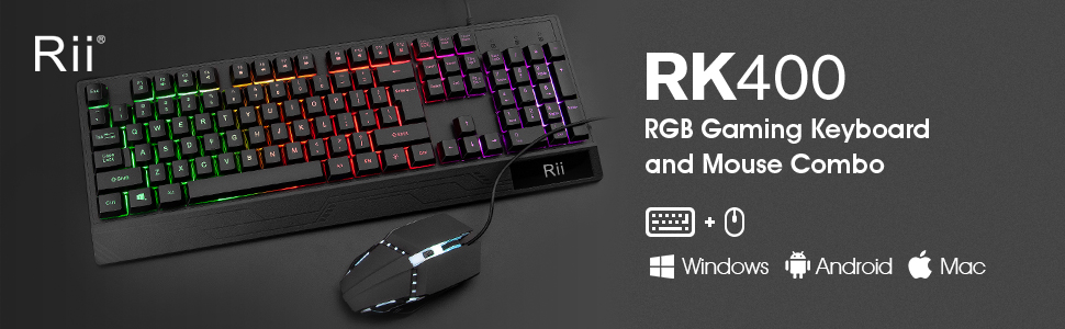 Rii RK400 RGB Gaming Keyboard and Mouse Combo,Wired Mechanical Feel 3-LED Backlit Keyboard