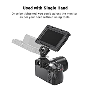 Gopro MOSHUSO Tilt 180/°and Swivel 360/°Filed Monitor Mount Bracket Support with Cold Shoe Base for LCD Monitor LED Video Light