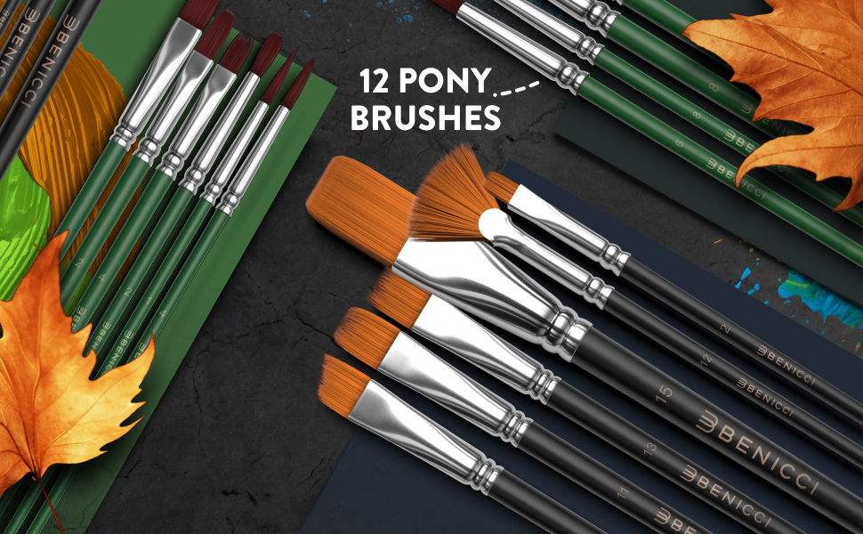 12 Pony Brushes.