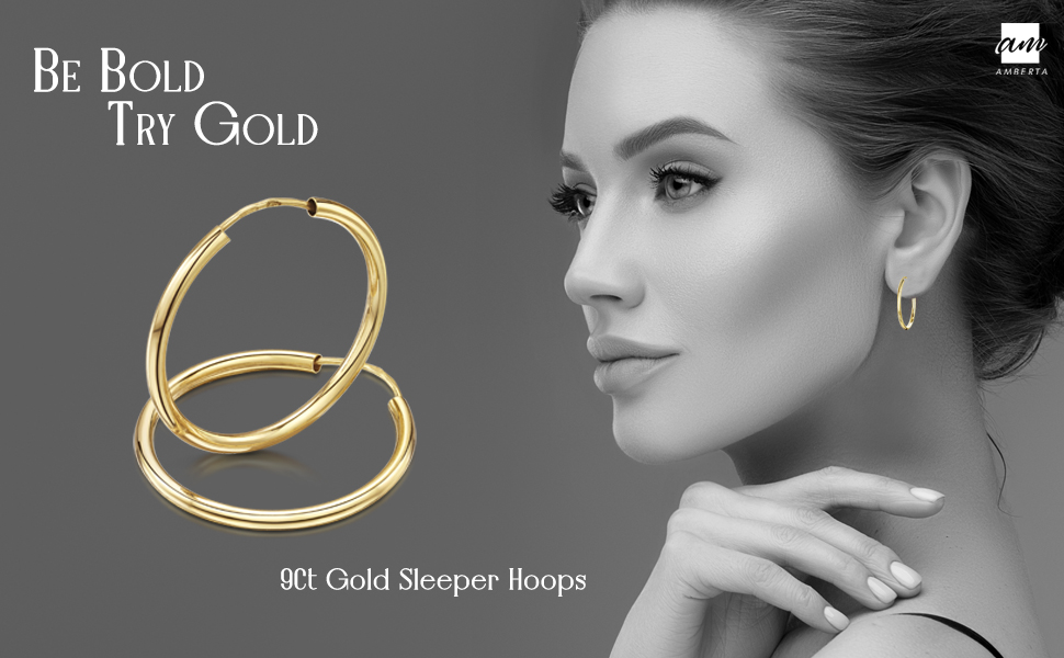 Amberta 9ct Real Yellow Gold Hoops - Sleeper Creole for Women