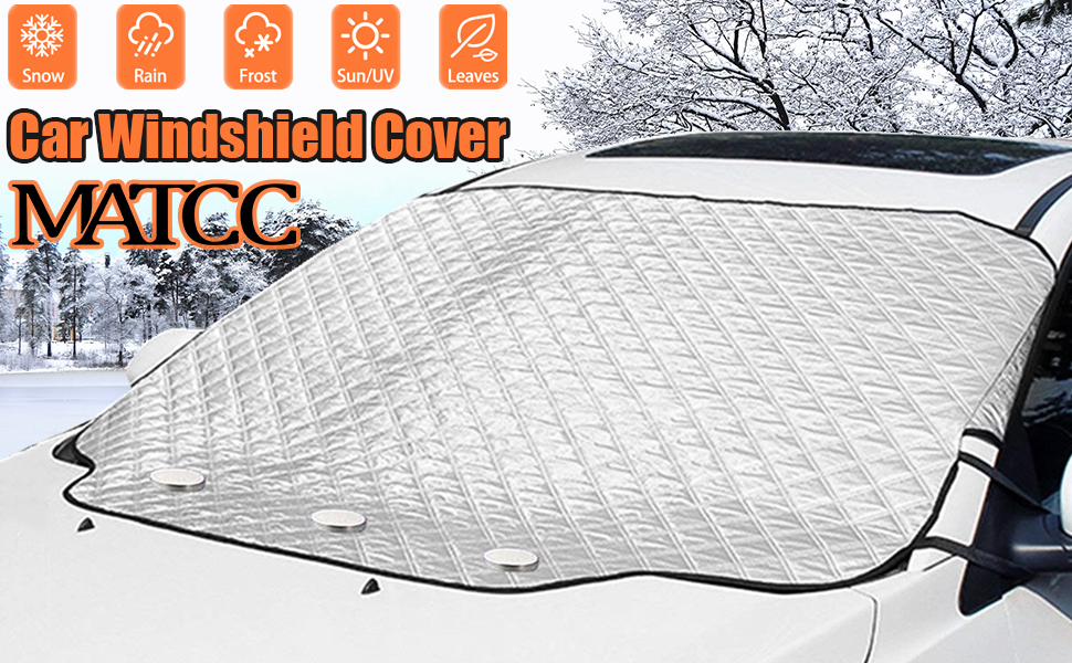 MATCC Car Windshield Cover Sun Shade Magnetic Frost Guard Winter Summer Sun Protector Cotton Thicker Snow Protection Cover Winter Snow Removal Magnetic Edges Fits Most Car