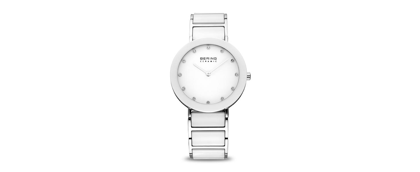 Bering Men's Women's Watch Strap Quartz Sapphire Glass Watch Slim Unisex Behring Skagen Ceramic