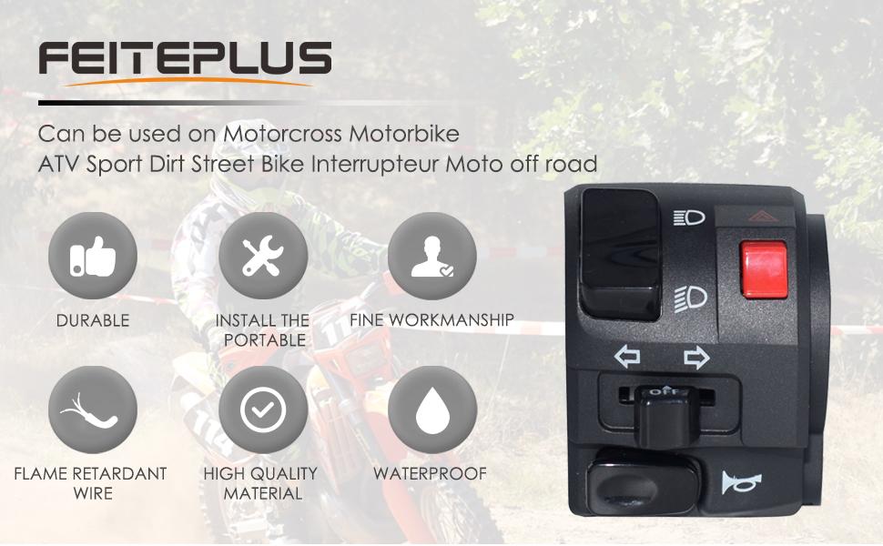 7//8 pulgadas 22 mm Bocina del faro de la motocicleta Interruptor de la luz de se/ñal de giro Bot/ón de encendido//apagado del manillar Accesorios de la motocic Interruptor del manillar de la motocicleta