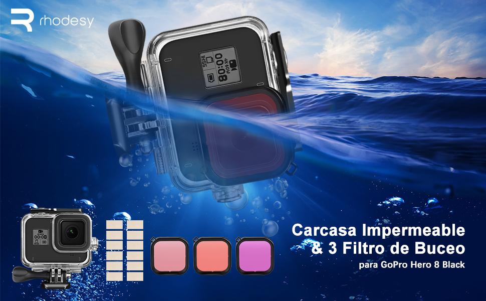 Rhodesy Estuche Impermeable Carcasa para GoPro Hero 8, Estuche Impermeable + 3 Filtros de Buceo, Accesorios para Gopro Acción Cámara, Impermeable & ...