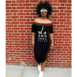 Womens Fashion Letter Print Off The Shoulder Sleeveless T Shirt Maxi Dress