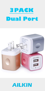 3pack dual port wall charger