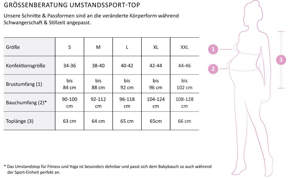 Herzmutter Umstands-Sport-Leggings Umstands-Yoga-Shirt f/ür die Schwangerschaft Yogahose f/ür Schwangere Umstands-Sport-Set 8200/_8300 Umstands-Sport-Top