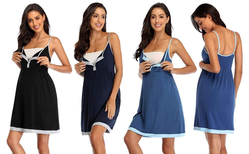 Women's Nursing Nightgown Maternity Dress Breastfeeding Hospital Gown