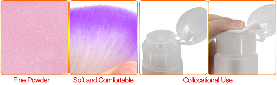 High quality fine powder can be used with nail brush, nail cotton, hydraulic bottle and so on