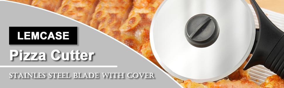 U//S Coupe-pizza 2 en 1 avec roulette en acier inoxydable et manche en silicone Noir