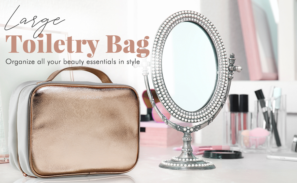 makeup bag toiletry case cosmetics pouch hanging rose gold gift womens travel clear zip present girl