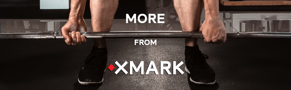 Image: Lower legs on rubber mat in home gym, hands pulling up weight bar. Text: More from XMark