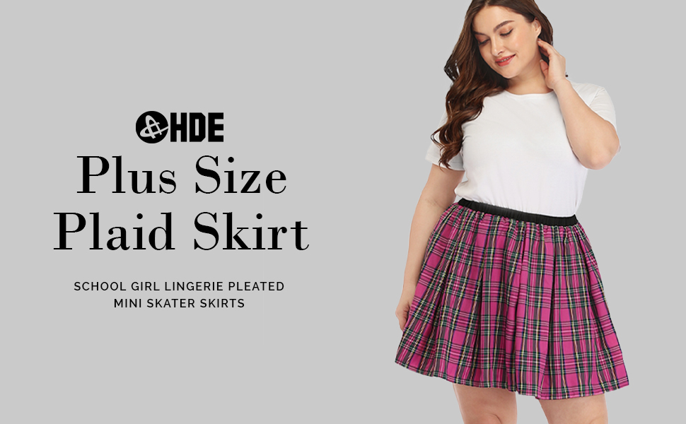Mini skirts size 33 Hde Plus Size Skirt Plaid Mini Skater Skirts Pleated School Girl At Amazon Women S Clothing Store