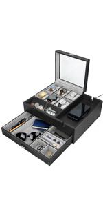 HOUNDSBAY Commander Dresser Valet Tray Great Gift Watchbox Jewelry Box
