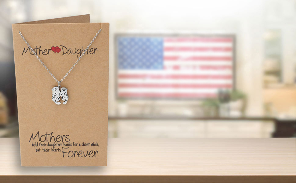 Mother Daughter Bird Necklace with Inspirational Quote on Greeting Card