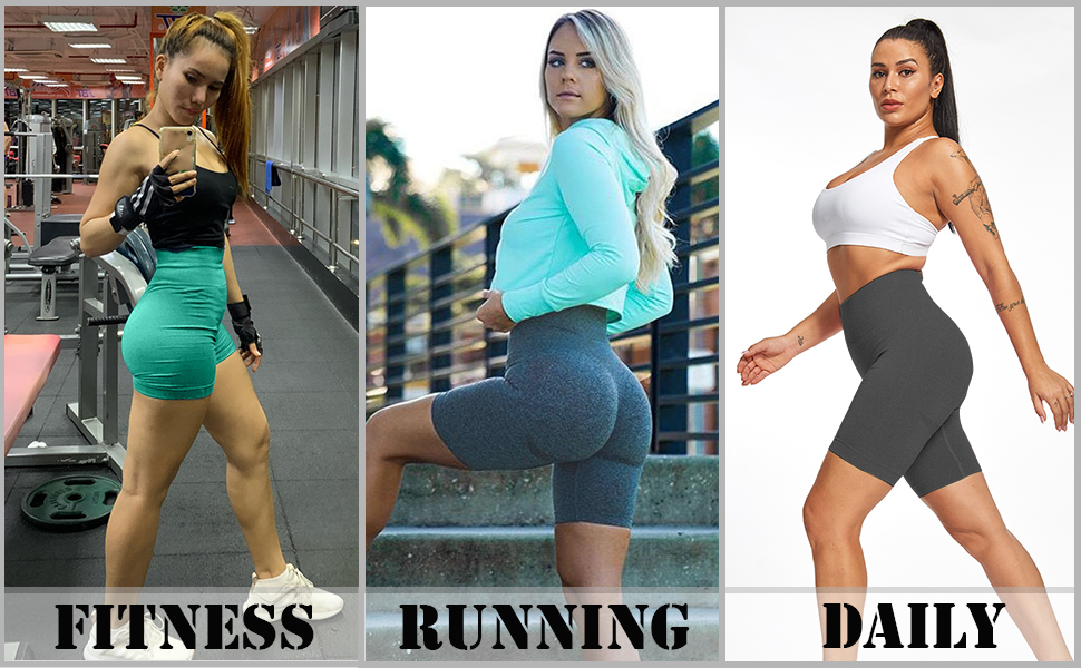 KINGJOZE High Waisted Yoga Shorts for Women Butt Lifting Tummy Control Workout Shorts Leggings Running Booty Shorts