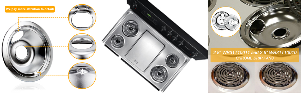 """Stove drip pan covers include 2 8"""" WB31T10011 and 2 6"""" WB31T10010 CHROME DRIP PANS. Color is silver"""