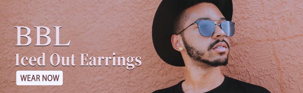 Heart Stud Earrings Barbell Piercing Studs for Women Men