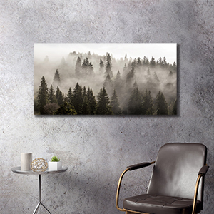 black and white forest canvas wall art