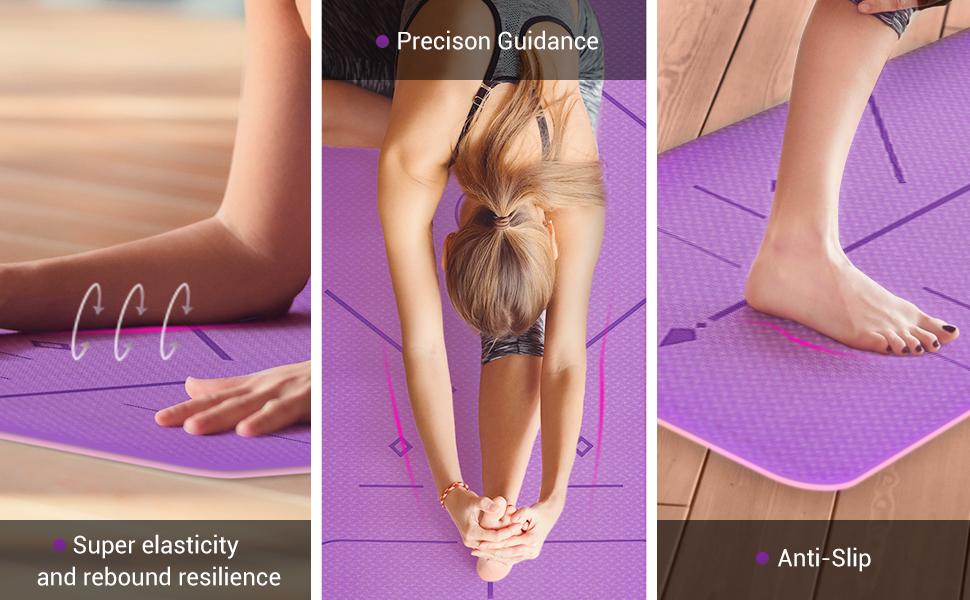 yoga mat  thick yoga mat yoga mats for exercise  yoga mat alignment lines  yoga mat 6mm