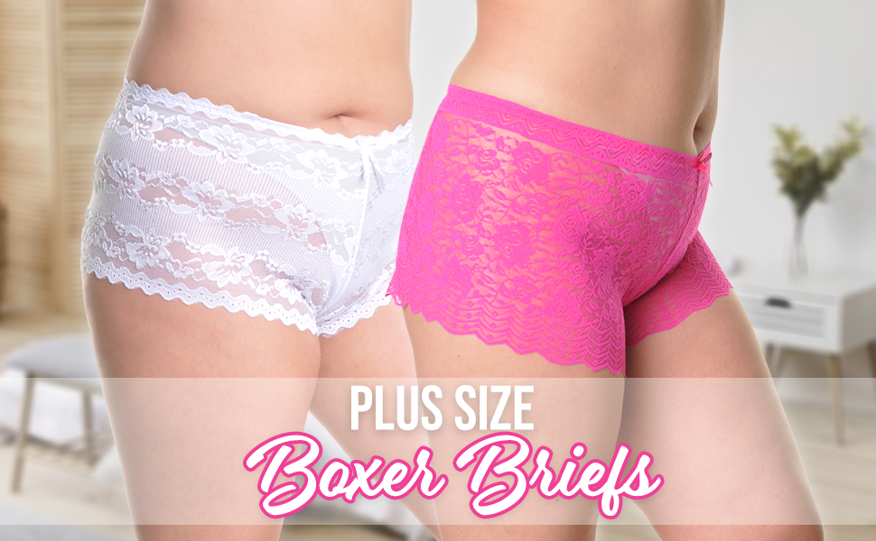 Women, Plus Size, Lace, Stretchy, Soft, Sexy, Cheeky, Briefs, Boxer, Panties, Underwear, Intimates