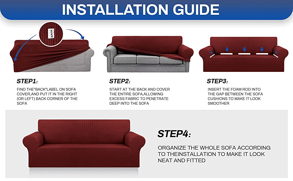 Dark Red sofa cover L/XL/XXL A+6