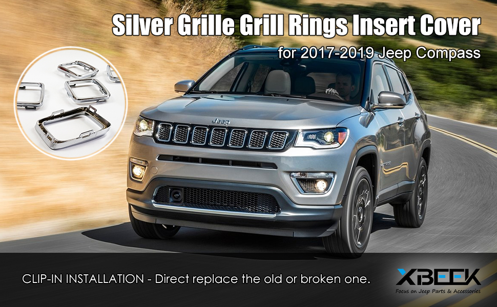 2017 2018 Jeep Compass Grille Ring Inserts Chrome