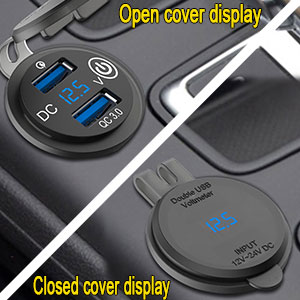 USB Car Charger designed with voltage monitor LED voltmeter indicates the car voltage