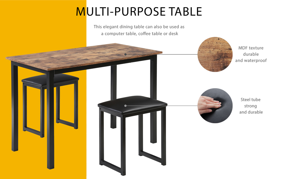 HOMURY Kitchen Dining Table Set with Padded Stools