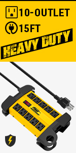 10-Outlet Heavy duty power strip surge protector