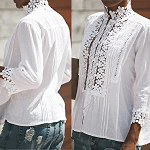 Crochet, Embroidered. 5 Front Button Closures, solid color blouse,V neck blouse, Flowy Bell Sleeves