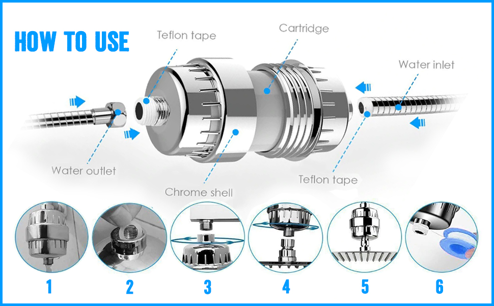 15 Stage Shower Filter Shower Head Chlorine Filter Hard Water Water Softener Showerhead Filter