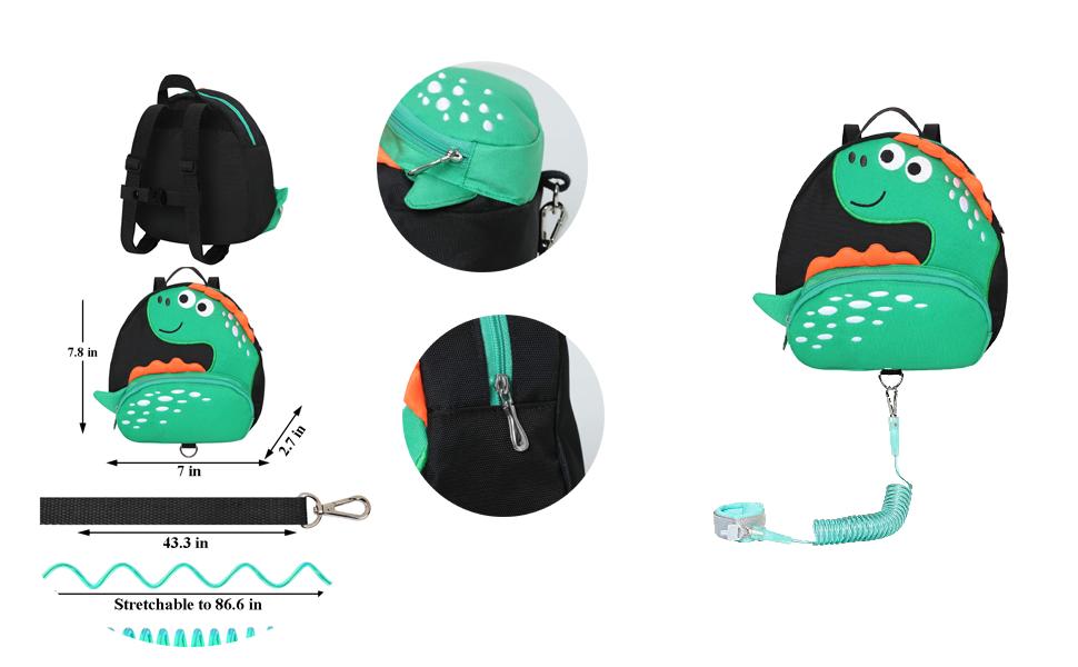 EPLAZA Toddler Leashes Dinosaur-Like Backpacks with Anti Lost Wrist Link Wristband