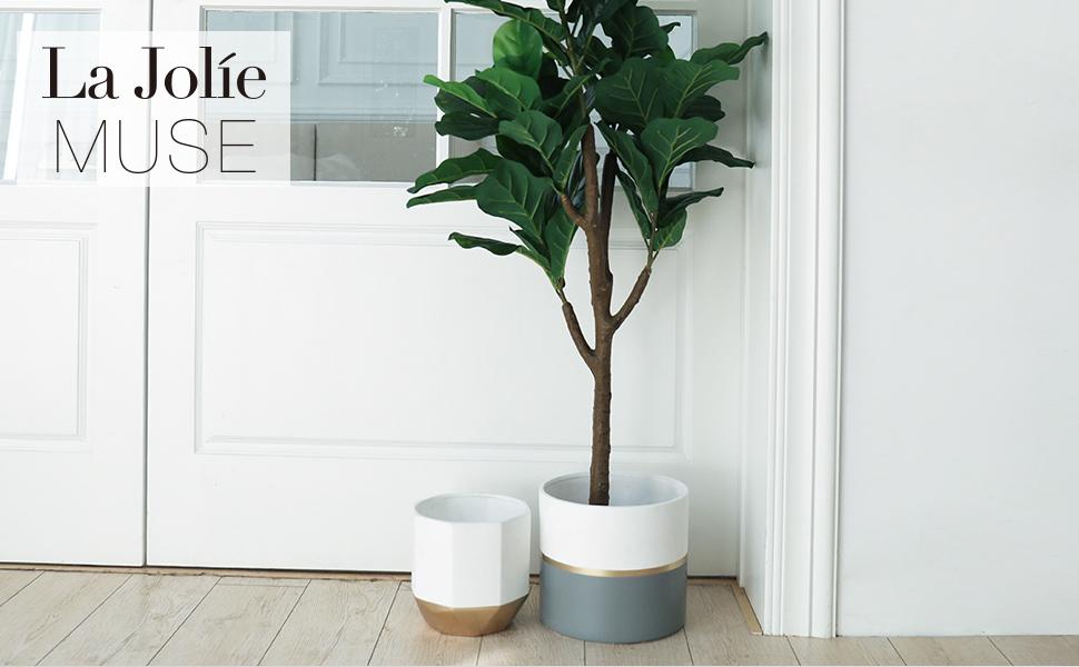 Large White Ceramic Plant Pots