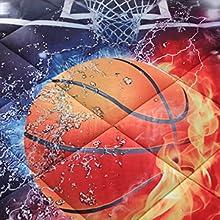 basketball on fire comforter