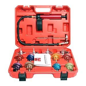 18pcs Universal Car Water Tank Leak Tester Cooling System Detector Tool Kit Cooling System Radiator Pressure Tester