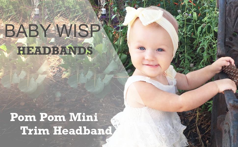 Newborn to 24 Months Nylon Pom Pom Headband Black Baby Infant Toddler Girls Baby Wisp
