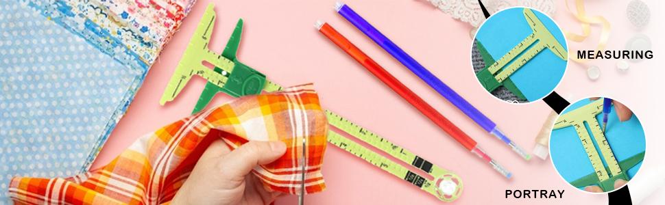 T 型滑尺缝纫测量用 4 色热擦除笔用于织物