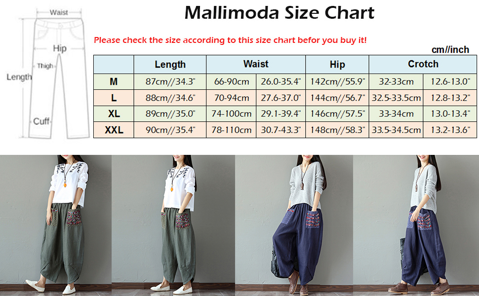 Mallimoda Womens Linen Cropped Trousers Splice Harem Pants Baggy Palazzo Wide Leg Pants