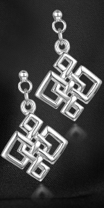 Amberta Women's 925 Sterling Silver Geometrical Drop Earrings