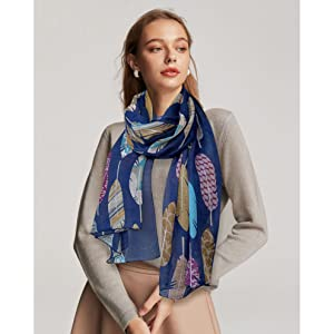 Navy feather scarf