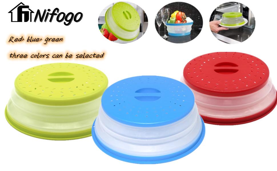 Rojo Nifogo Tapa Plegable para Microondas,Tapa microondas Plegable Colador,sin BPA y no t/óxico,Salpicaduras,para Lavar Frutas