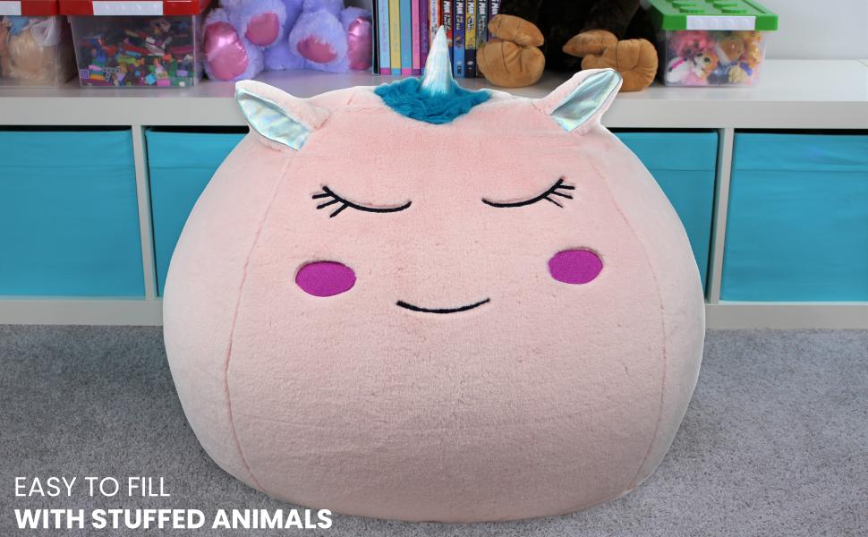 Bins & Things Unicorn Bean Bag Chair Cover For Kids, Cute Unicorn Room Decor For Girls And Boys