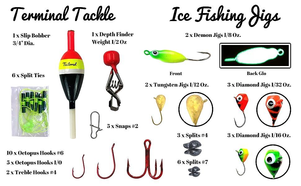 ice fishing kit lures jigs bobber hooks depth finder diagram tailored tackle