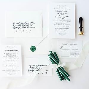 rosemary wax seals stamp wedding invitations