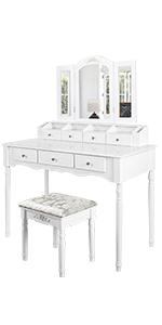 Vanity Set with Tri-folding Mirror